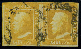 Oblitéré N° 18, 1/2 G Orange, Paire Hor., Sassone 1 : 3200 € - Stamps