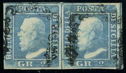 Oblitéré N° 20, 2gr Bleu, Paire Hor., Planche II, Position 64-65, Sassone 7, Signé Diéna - Stamps