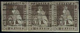 Oblitéré N° 8, 9c Brun Lilas, Très Jolie Bande Horizontale De 3, T.B. - Stamps