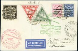 Lettre Zeppelin 6. S.A.F - 1932 - CP Càd Riga 7.IX.32, 2 Cachets Illustrés (1 Rouge + 1 Vert) Du Vol, Pour Recife-Pernam - Stamps
