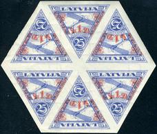 Neuf Sans Charnière N° 12, 1,50 S/25c Bleu, Blocs De 6 Timbres Dentelée + Non-dentelés, TB - Stamps