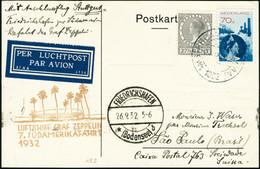 Lettre Zeppelin 7è SAF 1932. C.P. Non Illustrée. CàD Amsterdam 23.IX.1932, Pour Sao-Paulo. CàD De Transit Friedrichshafe - Unclassified