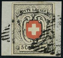 Fragment N° 7, 5c Nreuchâtel, Noir Et Rouge Obl Sur Fragment, Superbe, Signé Senf + Certificat Suisse 2015. Cat Suisse 5 - Stamps