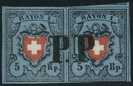 Oblitéré N° 14, 5 RP Bleu Foncé Et Rouge Paire Horizontale Obl Centrale PP, Très Grandes Marges, Superbe, Signé Brun - Stamps