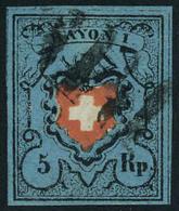 Oblitéré N° 14, 5 RP Bleu Foncé Zurmstein 15 II 750 CHF, Superbe, Signé Moser - Stamps