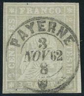 Oblitéré N° 25, 2r Gris, Bdf, Superbe Obl Centrale PAYERNE 3 NOV 62, Signé + Certificat Hunziker. Zurmstein 21G 700 CHF - Stamps
