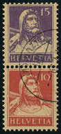 Oblitéré N° 138 + 141, 15 + 10 Se Tenant Verticalement, Cat Suisse Z3 220 FS - Stamps