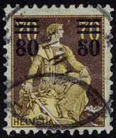 Oblitéré N° 148a, 80 Sur 70 Brun Sur Jaune, Variété 8 Cassé, Cat. Suisse 650 FS - Stamps