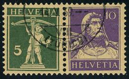 Oblitéré N° 242 + 243, 5c + 10c Se Tenant Hor. + 10 + 5 Se Tenant Verti. T.B. Cat Suisse Z16y + Z18y : 100 FS - Stamps