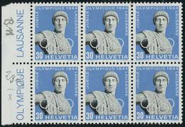 Neuf Sans Charnière N° 394, 30c Jubilé Olympique 1944, Bloc De 6, 1ex Retouché Sur L'oeil Droit Zurmstein 266 W 3.01 : 4 - Stamps