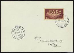 Lettre N° 405/17, La Série PAX Sur 9 Cartes 1er Jour Obl. Olten 8.5.45 Superbe Et Rare, Certificat Suisse ASEP JC Marcha - Stamps