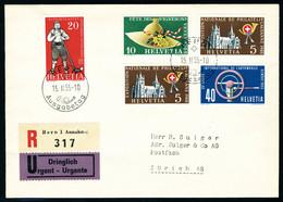 Lettre N° 558/61, BF N° 15, N° 562/66, 567/71, Chaque Série Avec Oblitération FDC Sur LR, T.B. Cote SBK 700 FS. - Stamps
