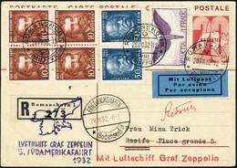 Lettre ZEPPELIN 5ème S.A.F 1932 S/C.P. CàD Romanshorn 28.VIII.32 CàD De Transit Et Friedrichshafen 29.8.32 Pour Recife.  - Stamps