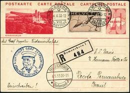 Lettre Zeppelin. 1er SAF 1933. E.P. Recommande De Romanshorn (6.V.33). CàD De Transit Friedrichshafen 6.5.33, Pour Recif - Stamps