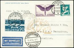 Lettre Zeppelin 3è SAF 1932. C.P. Illustrée (Zeppelin über Zürich). CàD Romanshorn 16.IV.32, Pour Récife. CàD De Transit - Stamps