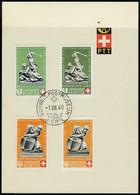Lettre N° 5, Les 4 Timbres ND Du Bloc Obl 1/8/40 Sur 3 Feuillets PTT Avec La Série Normale T.B. Cat Suisse 780FS - Stamps
