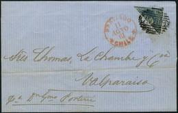 Lettre N° 6, Moitié De 10c   Bleu Obl Sur L 18 Aug 61 Pour Valparaiso T.B. - Stamps