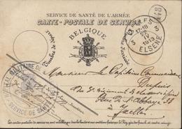 CP Service Santé Armée Cachet Hôpital Militaire De Bruxelles Service Santé CAD 22 IV 1913 ELSENE Belgique - Marcophilie