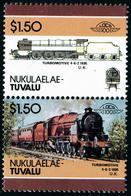 Neuf Sans Charnière Nukulaelaé, Michel N° 80-95, 1$50 Locomotive Turbomotive 4.6.2.1835, Paire Verticale, Timbre Du Haut - Stamps
