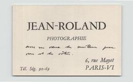 "Carte De Visite "" Jean-Roland "" Photographe à Paris - Cartoncini Da Visita"