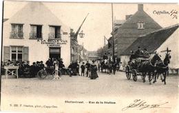 1 Postkaart Kappellen Cappellen Statiestraat A La Belle Vue Estaminet V Mertens C1904 Paarden Span Uitgever Hoelen N°220 - Kapellen