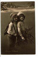 CPA - Carte Postale Belgique-Bonne Année -Deux Fillettes Avec Une Branche De Sapin M4878 - Nouvel An