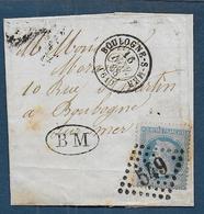 Pas De Calais - G.C.  549  Et Cachet Type 15  BOULOGNE S MER  + BM - Marcophilie (Lettres)