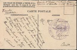 Guerre 39 45 FM Cachet Déesse Assise 2e Bataillon Chasseurs Pyrénéens Le Chef De Corps CP Chais Byrrh Thuir 66 - WW II