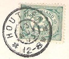 HOUTHEM Grootrondstempel Op Ansichtkaart Valkenberg Kasteel Den Halder Met Kerk  1903 - Poststempels/ Marcofilie