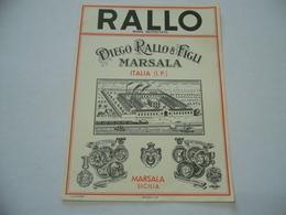 ETICHETTA PUBBLICITARIA RALLO E FIGLI MARSALA SICILIA. - Alcolici