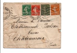 AFFRANCHISSEMENT COMPOSE DE SEMEUSE SUR LETTRE DE TOURS GARE 1935 - Marcophilie (Lettres)