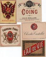 96Hs  Lot (N°1) De 5 Etiquettes Vin Liqueur Eau De Vie Créme - Etiketten