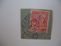 Tunisie Oblitéré, Oblitération Choisie  De Carthage  Cachet Bleu Sur Fragment  voir Scan - Postage Due