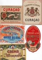 96Hs  Lot (N°2) De 5 Etiquettes Vin Liqueur Vinaigre Curaçao Créme - Etiketten