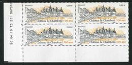 """Bloc De 4 Timbres** Gommés De 2019 """"0,88 € - CHÂTEAU DE CHAMBORD"""" Avec Date 30.04.19 - 2010-...."""