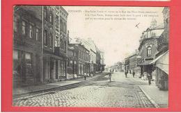 FOURMIES 1910 RUE SAINT LOUIS ET ENTREE DE LA RUE DES DEUX PONTS BANQUE SOCIETE GENERALE CARTE EN TRES BON ETAT - Fourmies
