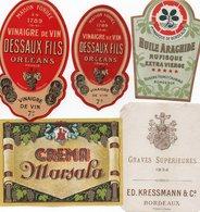 96Hs  Lot (N°5) De 5 Etiquettes Vin Liqueur Vinaigre Huile Créme - Etiketten