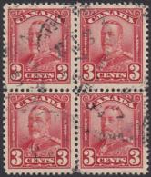 Canada 1928 Used Sc 151 3c George V Scroll Block Of 4 - Oblitérés