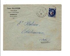N°486 SEUL SUR LETTRE A EN TETE DE EMBRUN HAUTES ALPES 1940 - 1877-1920: Période Semi Moderne