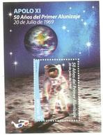 Uruguay 2019 Alunizaje Luna  SPACE APOLLO 11 MOON LANDING 50th ANNIVERSARY ASTRONAUTS 3D SHEET - Zuid-Amerika