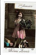 CPA - Carte Postale Belgique-Bonne Année-Une Fillette à Côté De Cadeaux Et De Fleurs-1910 M4896 - Nouvel An