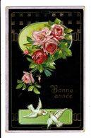 CPA - Carte Postale Allemagne-Bonne Année-Deux Colombes Et Un Bouquet De Fleurs M4900 - Nouvel An