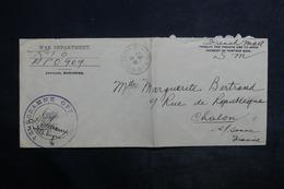 """ETATS UNIS - Enveloppe En Fm Pour La France , Cachet """" Télégramme Officiel Armée Américaine """" - L 36176 - Postal History"""