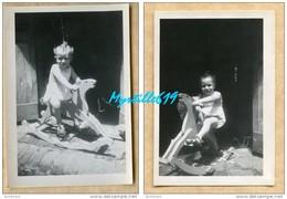 Lot 2 Photographies - Enfant Sur Cheval à Bascule - Saïgon 1947 - - Anonyme Personen