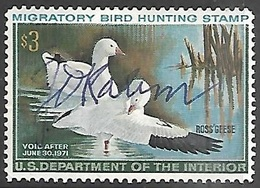 US 1970   Sc#RW37  $3 Duck Hunting Permits Used  2016 Scott Value $7 - Duck Stamps