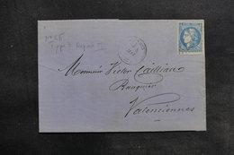 FRANCE - Lettre Pour Valenciennes En 1871 , Affranchissement Type Bordeaux - L 36178 - 1849-1876: Période Classique