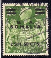 SOMALIA B.A. 1950 RE GIORGIO VI KING GEORGE BA 2,50 Su 2sh 6p 2/6 USATO USED OBLITERE' - Somalia