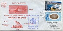 AFARS ET ISSAS ENVELOPPE PREMIER VOL POSTAL AIRBUS A 300 B2 DJIBOUTI - LE CAIRE DU 30 OCTOBRE 1975 - Afars & Issas (1967-1977)