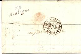 5F1  ---  92   BOULOGNE-BILLANCOURT  Cursive 72  Boulogne En FAUSSE DIRECTION Sur Lettre D'Orléans Pour Boulogne Sur Mer - 1801-1848: Precursors XIX
