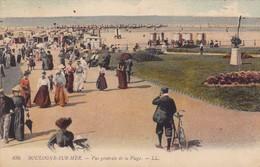 62. BOULOGNE SUR MER. CPA COLORISÉE..ANIMATION. VUE GENERALE DE LA PLAGE. ANNEE 1913 + TEXTE - Boulogne Sur Mer